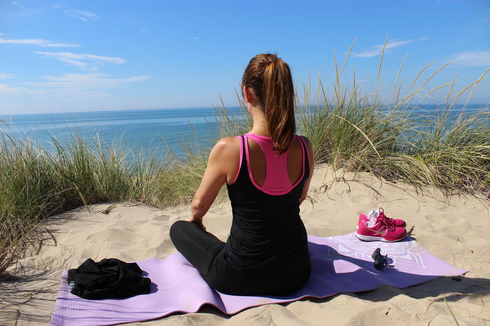 Relaxes body internally and externally doing yoga